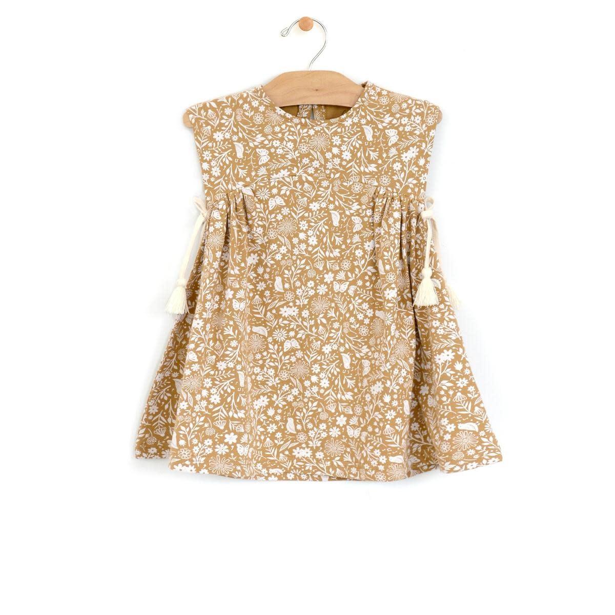 City Mouse Jersey Side Gather Tassel Baby Dress - Golden Garden