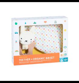 Petit Collage Teether + Organic Bib Set - Little Bunny