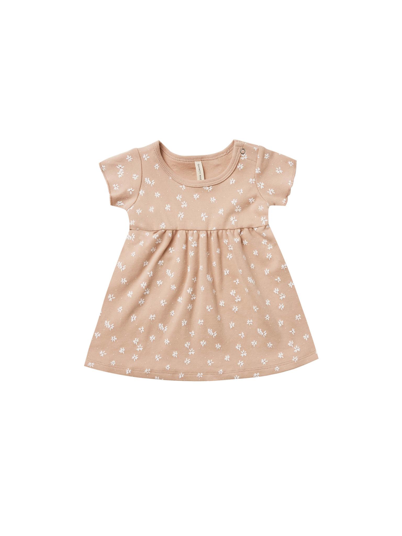 Quincy Mae Short Sleeve Baby Dress - Petal