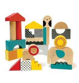 Petit Collage Wooden Blocks - Animal Town
