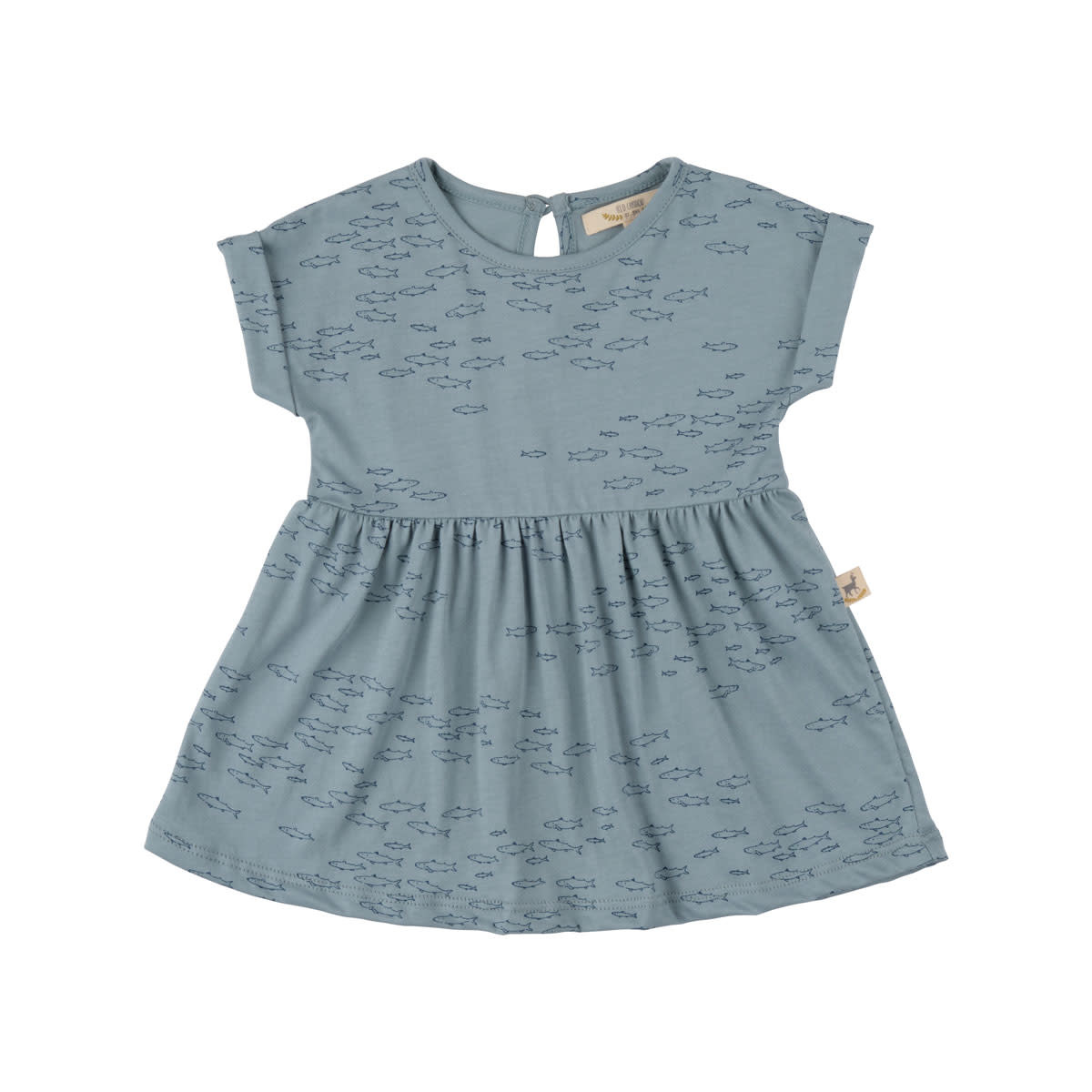 Red Caribou Baby Dress - Schooling Fish