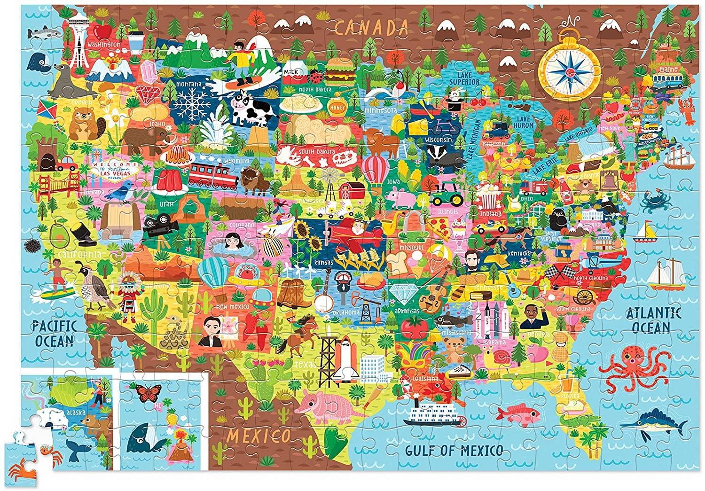 Crocodile Creek 200 Pc Puzzle - USA Shaped Box