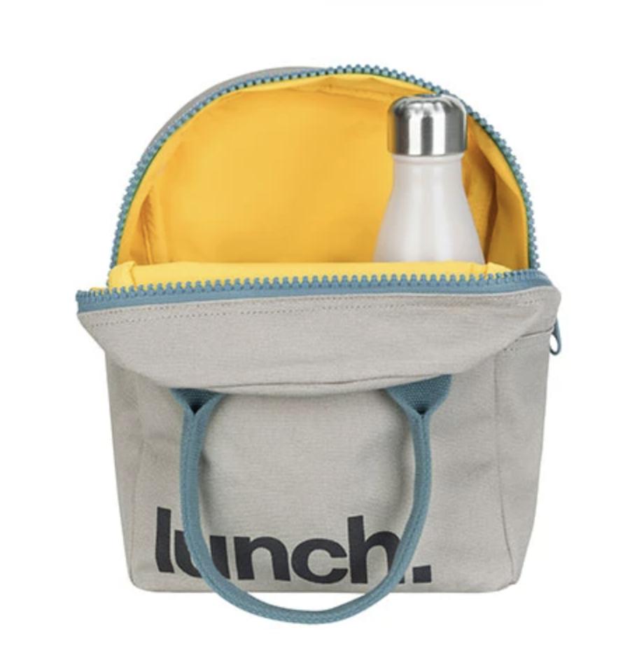 Fluf Zip Lunch Bag - 'Lunch' Grey