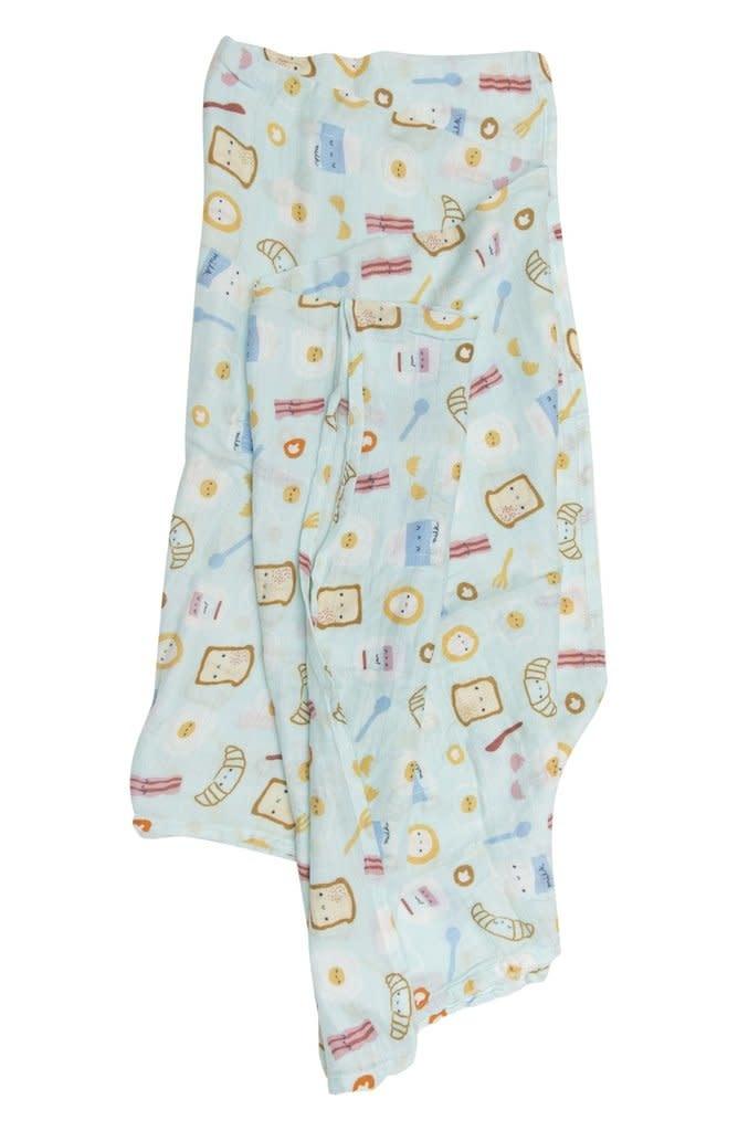 Loulou Lollipop Swaddle Blanket - Breakfast Blue