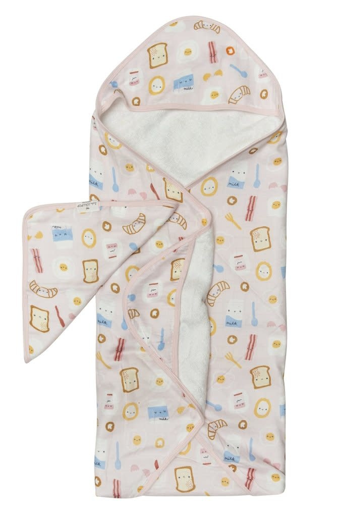 Loulou Lollipop Hooded Towel  Set - Breakfast Pink