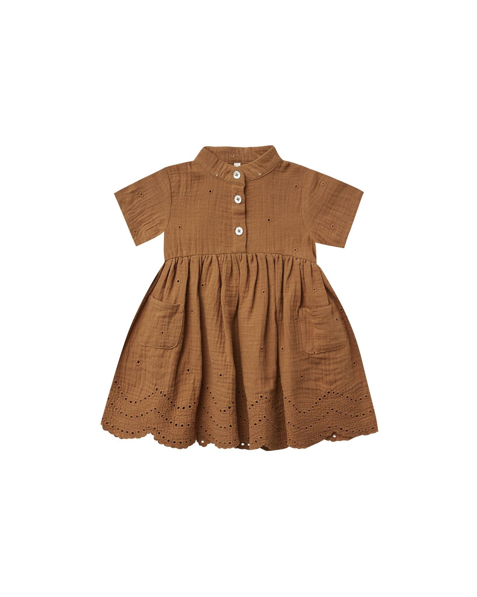 Rylee & Cru Esme Baby Dress - Rust