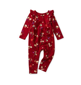 Tea Collection Bold Shoulder Baby Romper - Tossed Tulips
