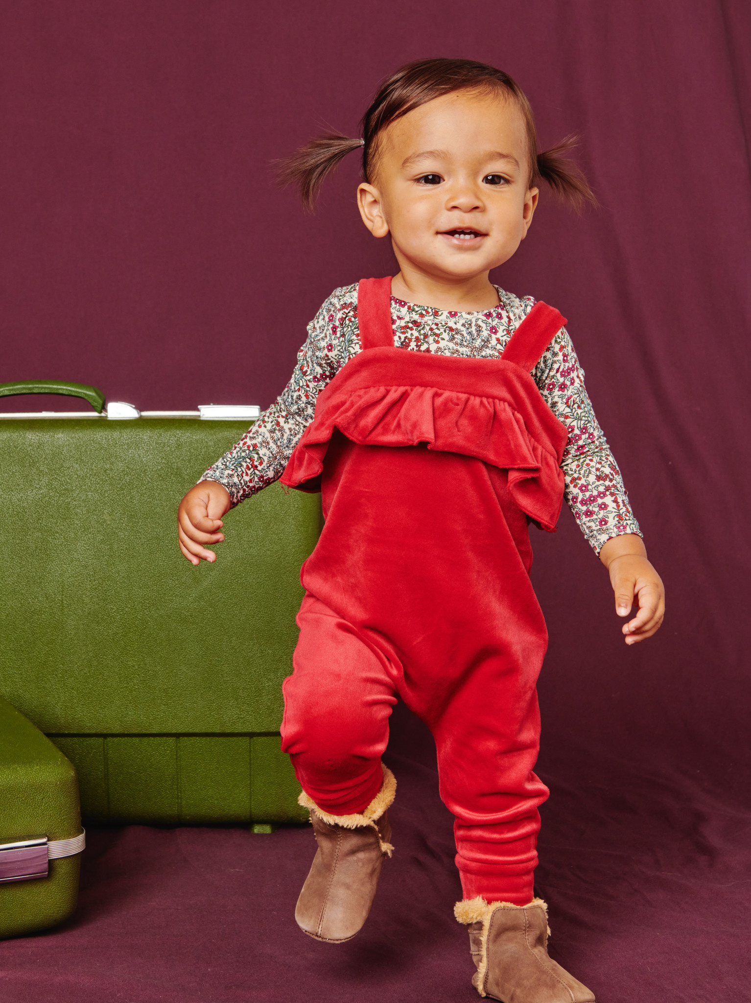 Tea Collection Dreamy Ruffle Baby Romper - Red Wagon