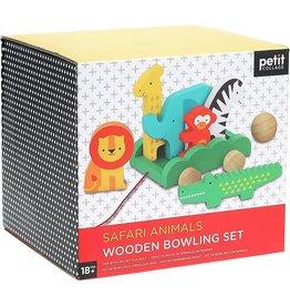 Petit Collage Safari Animals Wooden Bowling