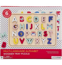 Petit Collage Numbers, Shapes, and Colors Wooden Tray Puzzle