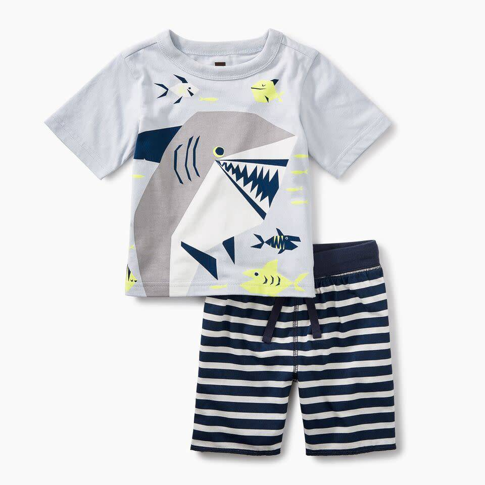 Tea Collection Smiling Shark Baby Outfit