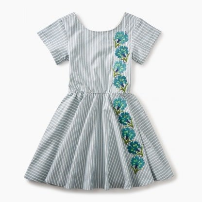 Tea Collection Stripe Floral Embroidered Dress