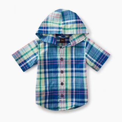 Tea Collection Plaid Hooded Shirt