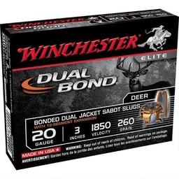 "Winchester Winchester Supreme Elite 20 Gauge 3"" 260 Grain Dual Bonded Dual Jacket Sabot Slugs (5-Rounds)"