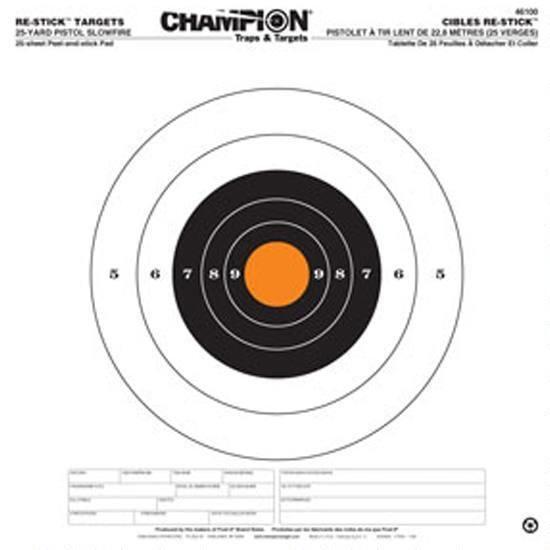 Champion Re-Stick Target 25 Yard Pistol Target (25-Sheets)
