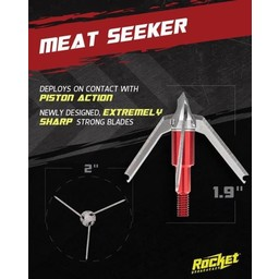 "Rocket Meat Seeker Crossbow 100 Grain 3-Blade 2"" Cutting Diameter Broadhead"