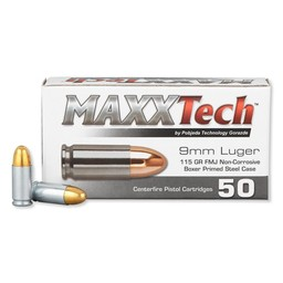 MAXXtech MAXXTech 9mm Luger 115 Grain FMJ Steel Case
