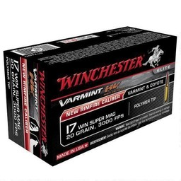 Winchester Varmint High Velocity .17 Win. Super Mag. 20 Grain 3000FPS Polymer Tip (50-Rounds)