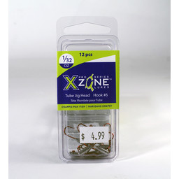 X Zone Lures X Zone Crappie/Panfish Tube Jig Head 1/32 Oz Size #6 12 Pack