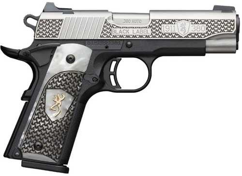 Browning Browning Black Label 1911, 380 Auto, High Grade Engraved White Pearl Grip