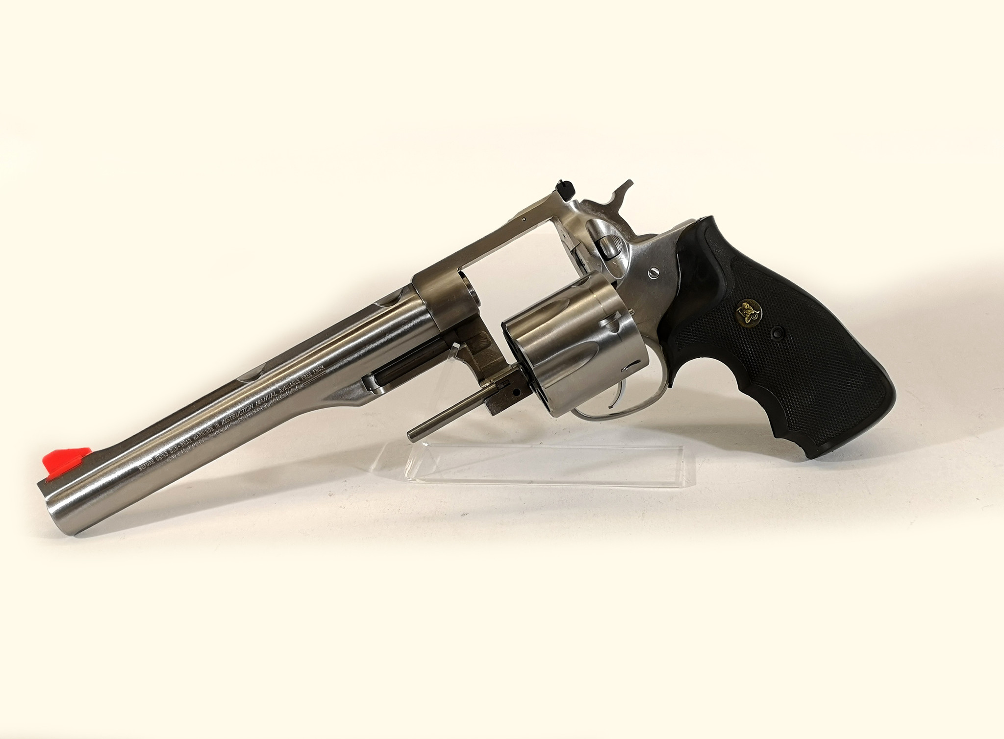 """USED UHG-6863 Ruger Redhawk Stainless 44 Mag, 7.5"""" barrel with Pachmeyer Grips and original grips and speed loader"""