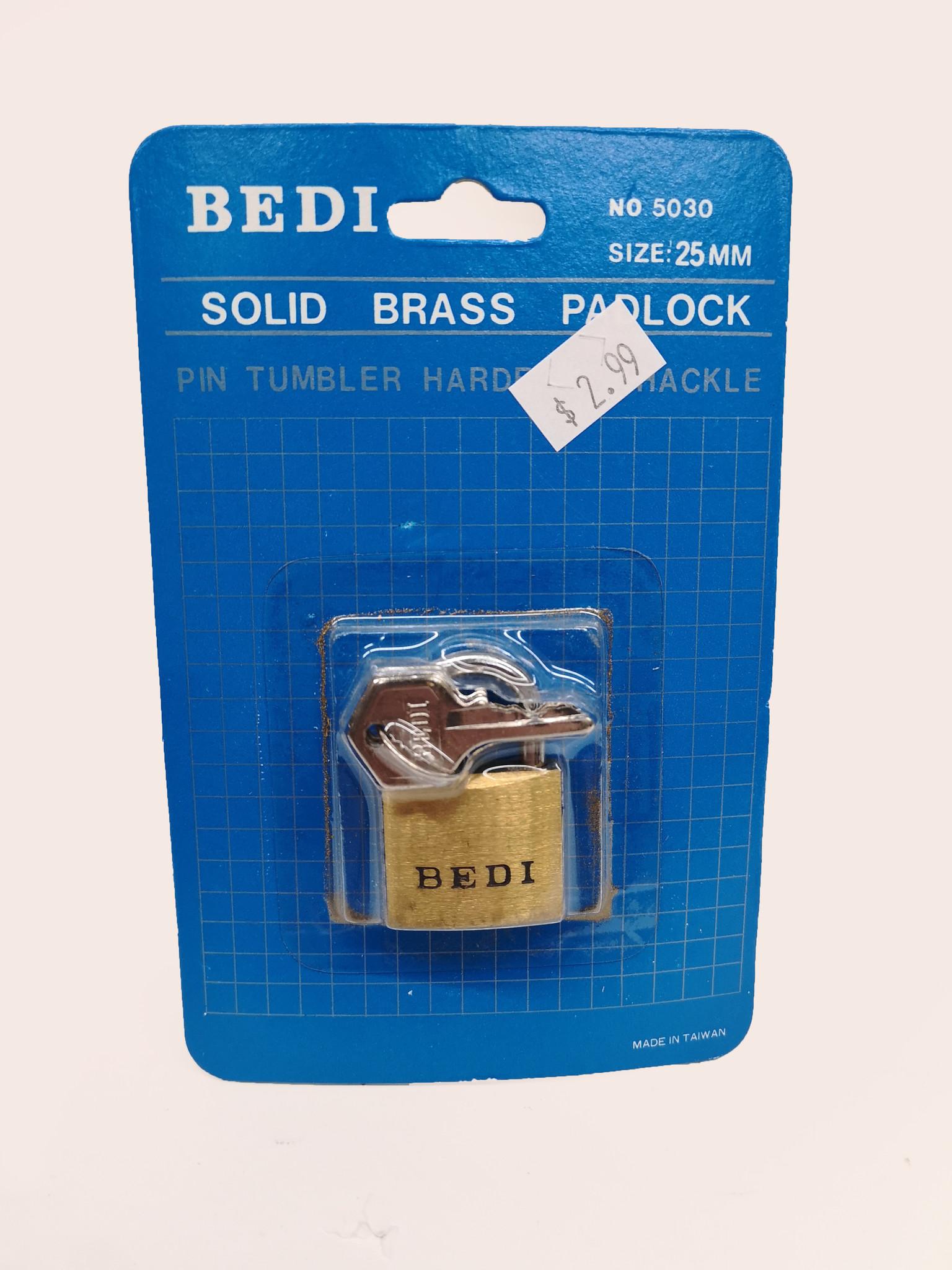Bedi Bedi Solid Brass Padlock 25mm