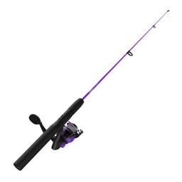 """Zebco Zebco Dock Demon 30"""" 1 Piece Spinning Reel Combo 6# Purple"""