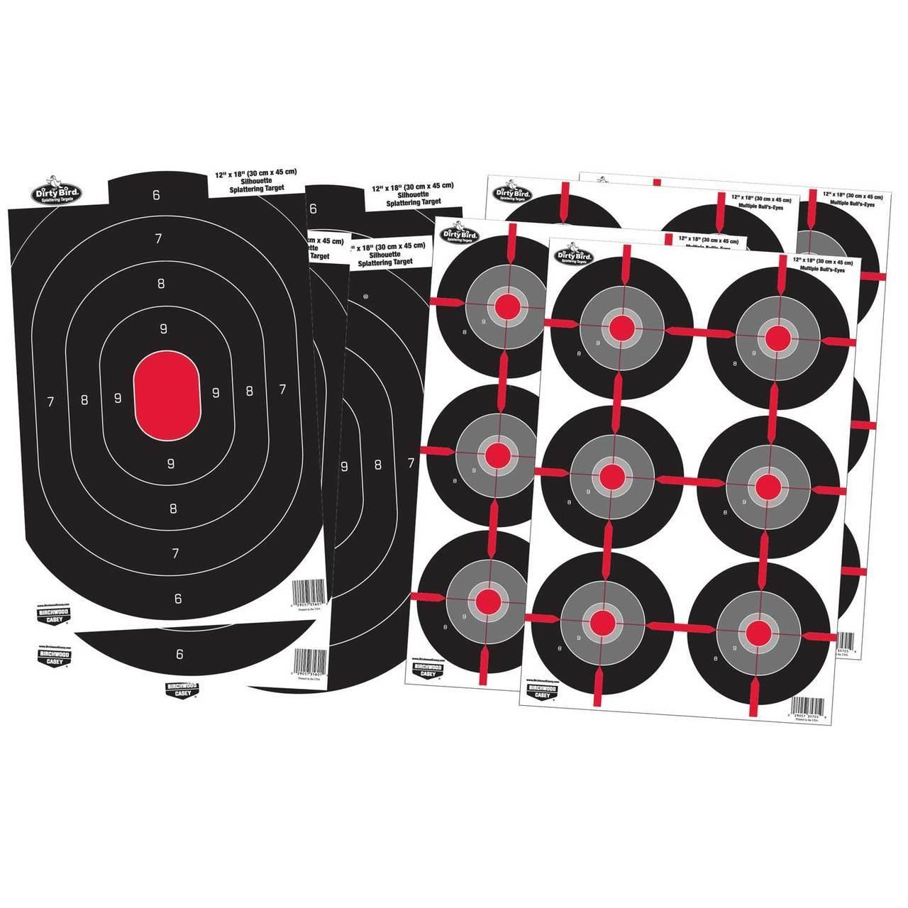 """Birchwood Casey Birchwood Casey Dirty Bird Splattering Targets Combo Pack 12""""x18"""" Silhouette (4-Pack) 12""""x18"""" Multi-Bullseye Targets 12""""x18"""" (4-Pack)"""