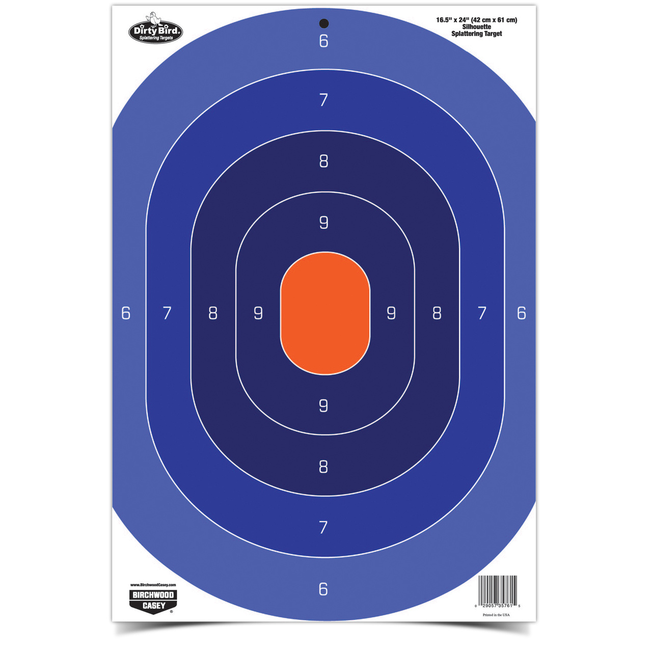 "Birchwood Casey Birchwood Casey Dirty Bird Splatting Target 16.5""x24"" Silhouete Blue/Orange"