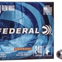 Federal Federal Power-Shok 44 Rem Mag Jacketed Hollow Point (20 Rounds) 240 Grain