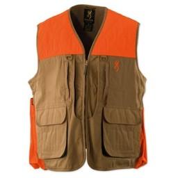 Browning Browning Canvas Upland Gear Vest Field Tan w/ Blaze Trim