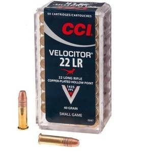 CCI CCI Velocitor 22LR 40 Grain Copper-Plated Hollow Point 50 Cartridges