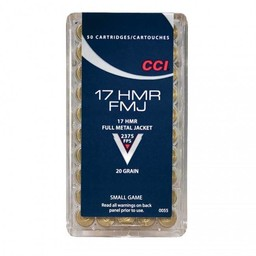 CCI CCI 17 HMR 20 Grain Full Metal Jacket 50 Cartridges