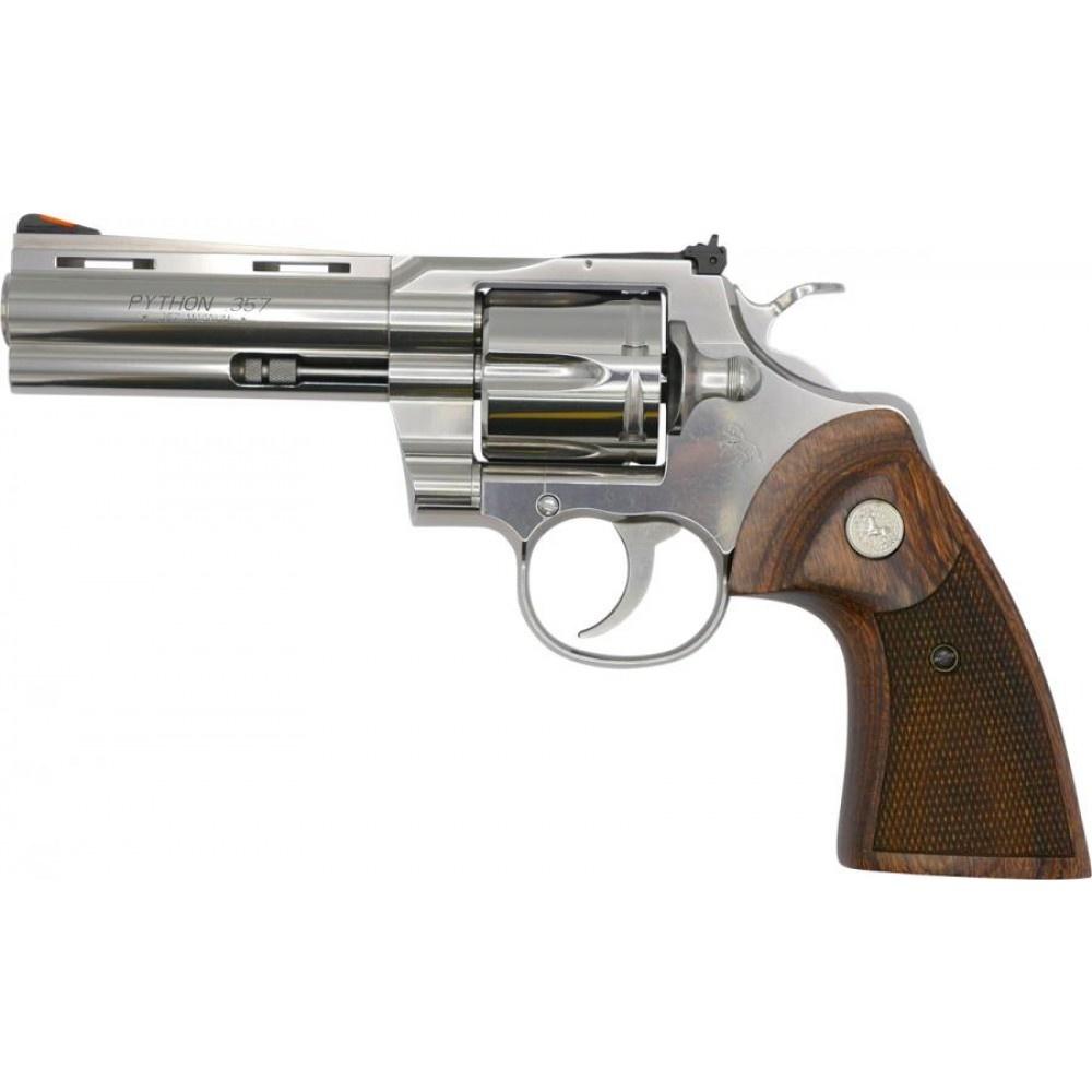 "Colt Python 357 Mag Stainless 4.25"" Barrel Wood Grips"