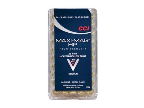 CCI CCI Maxi-Mag 22 WMR JHP 40 Grain (50 Rounds)