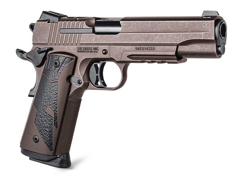 """Sig Sauer Spartan 2 II 1911 45 ACP 5"""" Barrel Distressed Coyote Single Action Only 2 8-Round Magazines"""