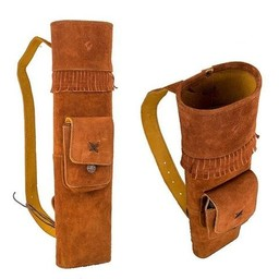 Neet Archery Traditional Leather Back Quiver Honey Brown Left Hand