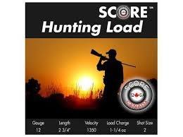"Score Ammunition Score Ammunition 12 Gauge 2 3/4"" 1 1/4 oz Lead Hunting Loads (25 Rounds) #2"