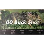 """Score Ammunition Buckshot 12 Gauge 2 3/4"""" 00 Buck Shot 9 Pellet 1350 FPS (10 Rounds)"""