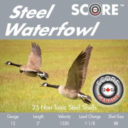 "Score Ammunition Score Ammunition 12 Gauge 3"" 1 1/8oz Steel Waterfowl Loads (25 Rounds) #BB"