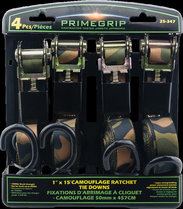 Primegrip 15' Ratchet & Cam Buckle Set (4 Pieces)