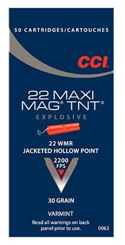 CCI CCI 22 WMR Maxi-Mag TNT 30 Grain Hollow Point (50 Rounds)