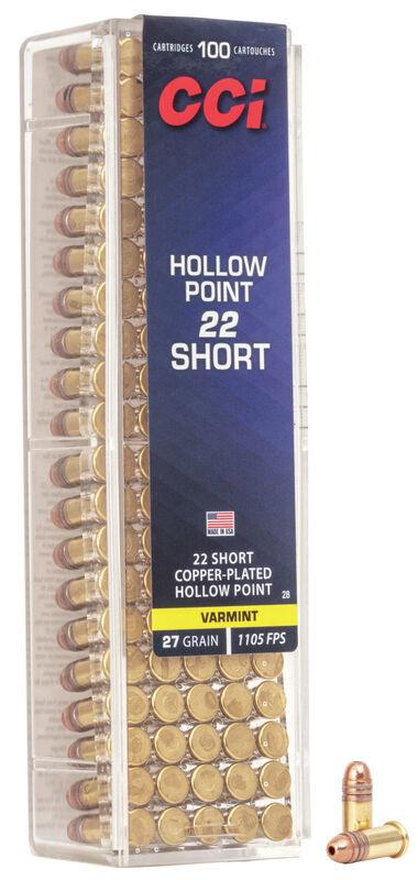 CCI CCI 22 Short 27 Grain Copper-Plated Hollow Point 100 Cartridges