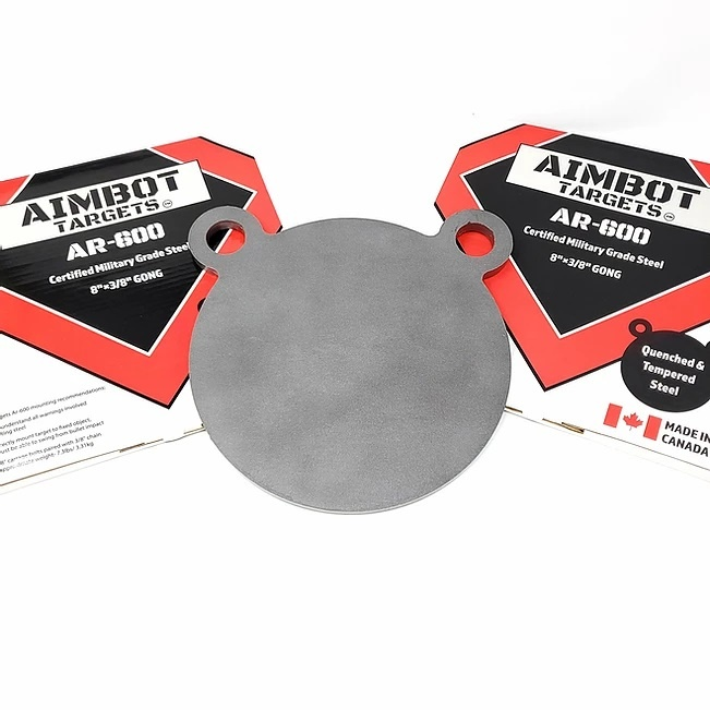 "Aimbot Targets AR-600 8""x3/8 Gong Quenched and Tempered Steel"