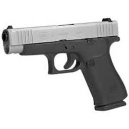 Glock 48 9mm Silver Slide Amglo Bold Sight 2 10-Round Mags