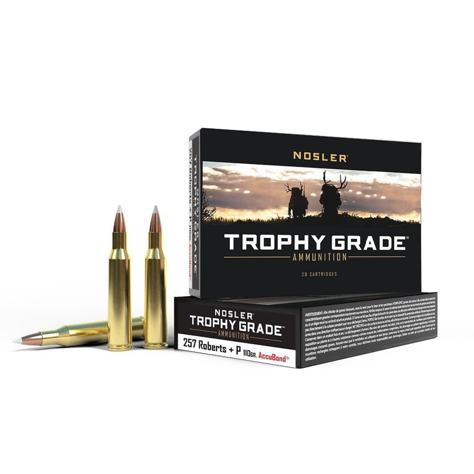 Nosler Trophy Grade Centerfire Ammunition .257 Roberts+P 110 Grain AccuBond