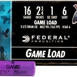 "Federal Federal 16 Gauge 2 3/4"" 1oz #6 Game Load (25 Rounds)"