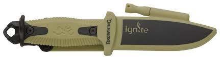 Browning Browning Ignite Knife w/ Flint Fire Starter OD Green