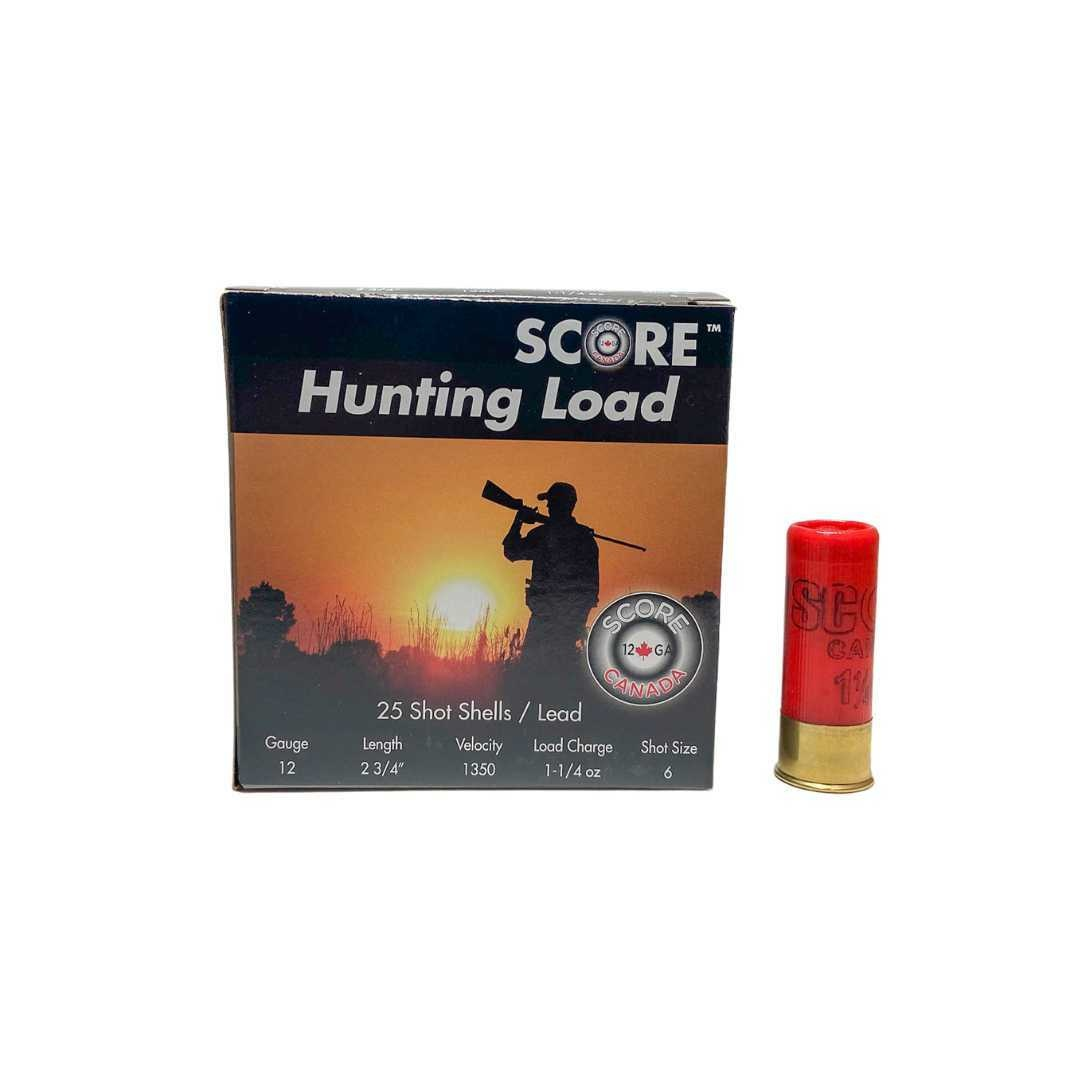 "Score Ammunition Score Ammunition 12 Gauge 2 3/4"" 1 1/4oz Lead Hunting Loads (25 Rounds) #6"