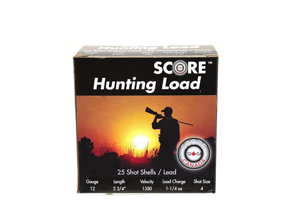 "Score Ammunition Score Ammunition 12 Gauge 2 3/4"" 1 1/4oz Lead Hunting Loads (25 Rounds) #4"